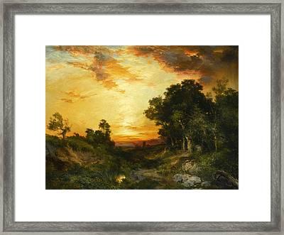 Sunset Amagansett Framed Print by Thomas Moran