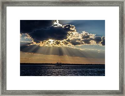 Sunset And A Three Masted Schooner Framed Print