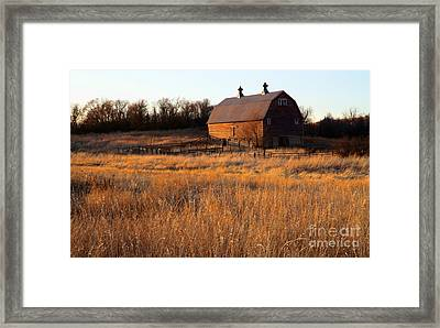 Sunset And Barn Framed Print by Edward R Wisell