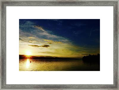 Sunset And Buoy Over Vancouver Island Framed Print