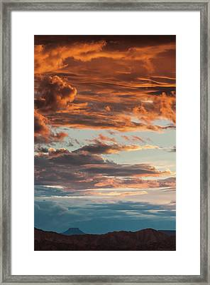 Sunset And Cerro Pedernal Framed Print