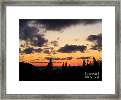 Sunset And Dark Clouds Framed Print by Barbara Griffin