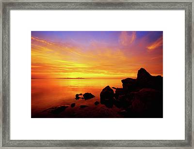 Sunset And Fire Framed Print by Chad Dutson