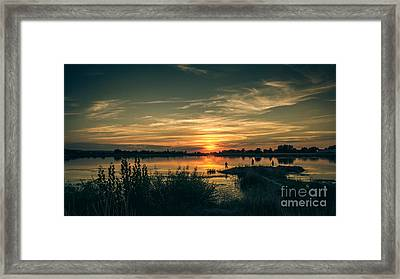Sunset And Fishing Framed Print