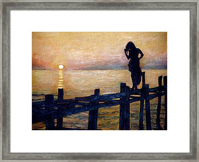 Sunset And Girl Framed Print