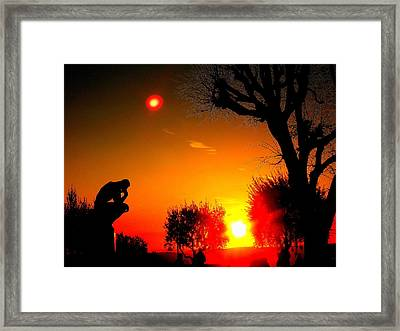 Sunset And Moon In France Framed Print