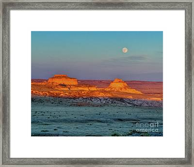 Sunset And Moon-rise Over Pawnee Buttes Framed Print