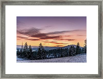Sunset And Mountains Framed Print