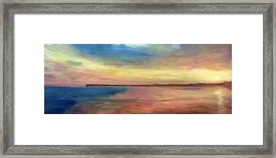 Sunset And Pier Framed Print
