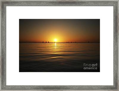 Sunset And Sailboats Framed Print by Brandon Tabiolo - Printscapes