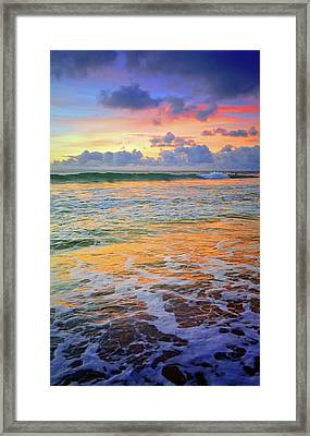 Framed Print featuring the photograph Sunset And Sea Foam by Tara Turner