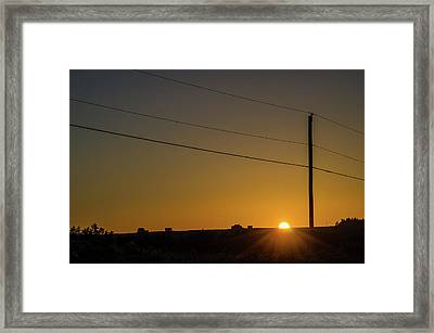 Framed Print featuring the photograph Sunset And Telephone Post by Rob Huntley