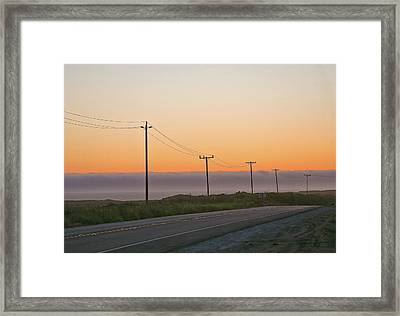 Sunset And Telephone Wires Framed Print by Liz Santie