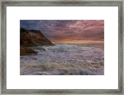 Sunset And Waves At Cape Kiwanda Framed Print by David Gn