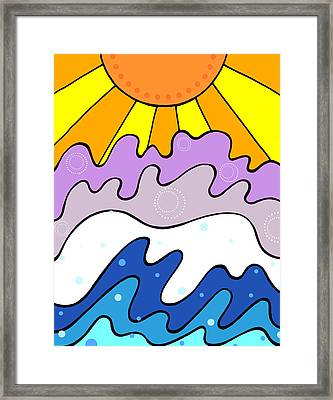 Sunset And Waves Framed Print by Jayme Kinsey