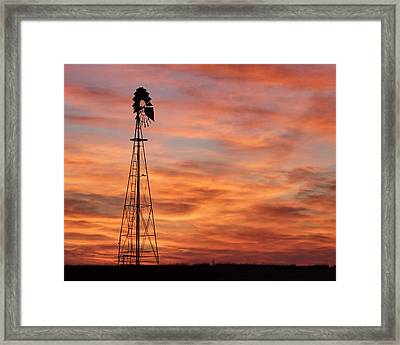 Sunset And Windmill 04 Framed Print
