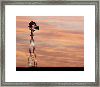 Sunset And Windmill 05 Framed Print