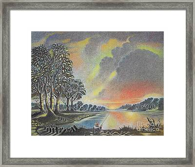 Sunset Angler Framed Print
