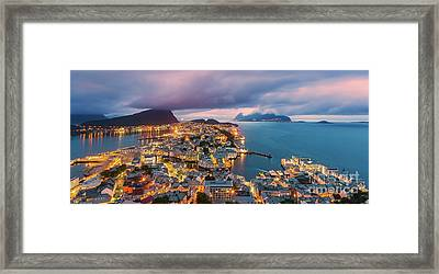 Sunset At Alesund, Norway Framed Print
