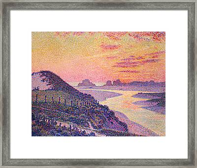 Sunset At Ambleteuse Pas-de-calais Framed Print by Theo van Rysselberghe
