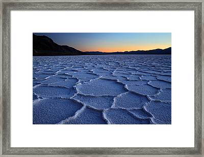 Sunset At Badwater In Death Valley Framed Print by Pierre Leclerc Photography