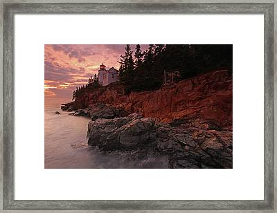 Sunset At Bass Harbor Head Lighthouse Framed Print by Juergen Roth