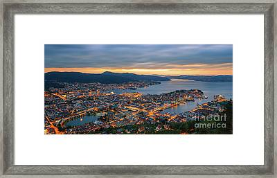 Sunset At Bergen As Seen From Mount Floyen, Norway. Framed Print