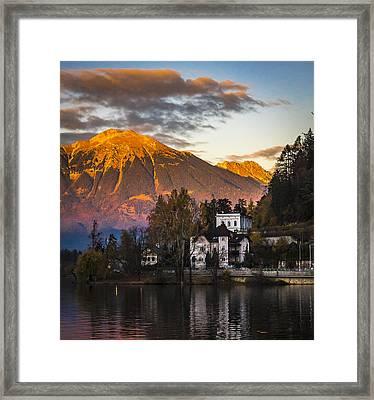 Sunset At Bled Framed Print