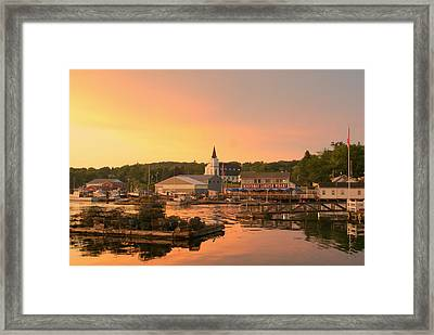 Sunset At Boothbay Harbor Framed Print by Lois Lepisto