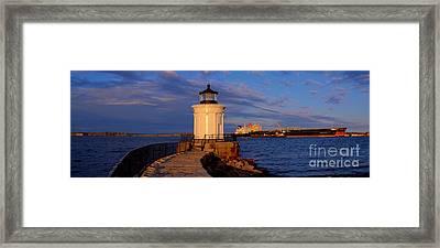 Sunset At Bug Light Lighthouse 2 Framed Print