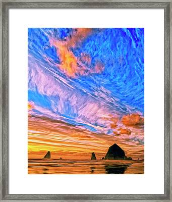 Sunset At Cannon Beach Framed Print
