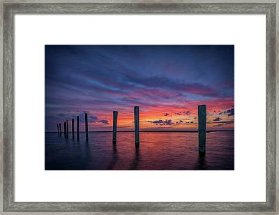 Sunset At Cedar Beach Marina Framed Print by Rick Berk