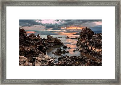Framed Print featuring the photograph Sunset At Charley Young Beach by Susan Rissi Tregoning