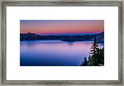 Sunset At Crater Lake Framed Print by Michele James