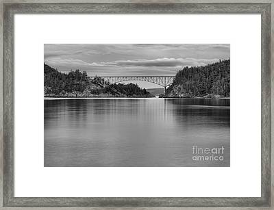 Sunset At Deception Pass - Black And White Framed Print