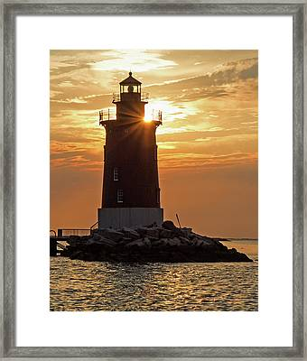 Sunset At Delaware Breakwater Light Framed Print