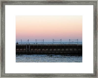 Sunset At Diversey Harbor Framed Print