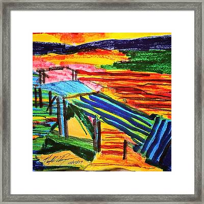 Sunset At Dock Framed Print