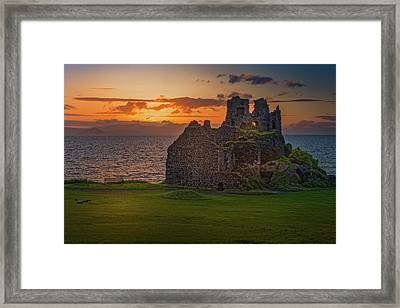 Sunset At Dunure Castle Framed Print
