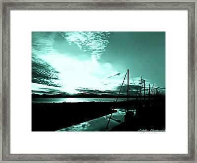 Sunset At Edmonds Washington Boat Marina 1 Framed Print by Eddie Eastwood
