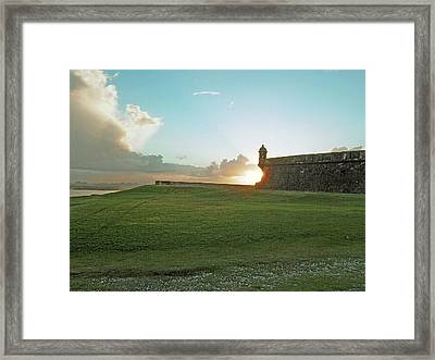 Sunset At El Morro Framed Print by Gary Wonning