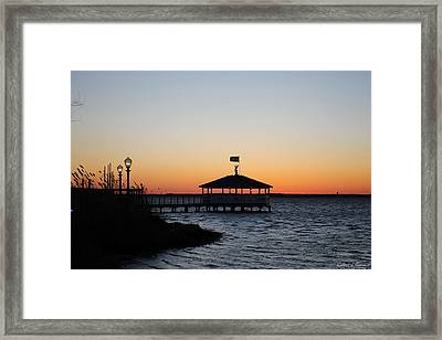 Sunset At Fagers Island Gazebo Framed Print