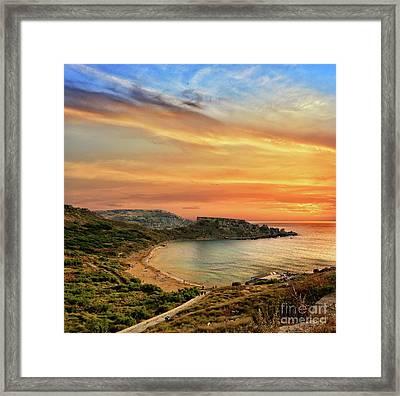 Sunset At Ghajn Tuffieha Framed Print by Stephan Grixti