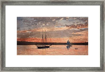 Sunset At Gloucester Framed Print by Winslow Homer