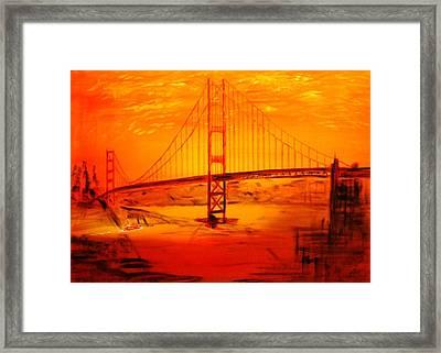 Sunset At Golden Gate Framed Print by Helmut Rottler
