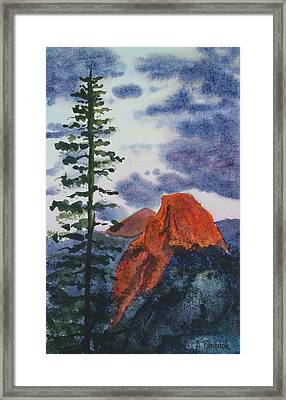 Sunset At Half Dome Framed Print by Ally Benbrook