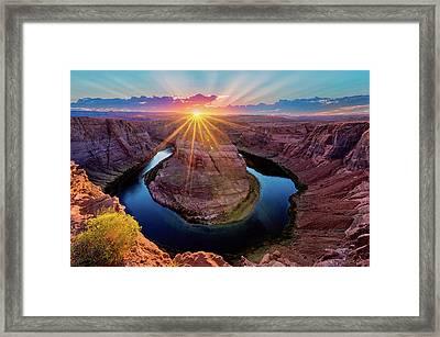 Sunset At Horseshoe Bend Framed Print