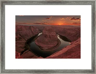 Sunset At Horseshoe Bend Framed Print