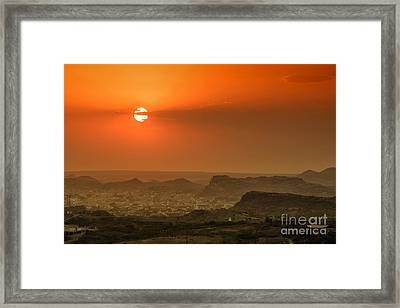 Framed Print featuring the photograph Sunset At Jodhpur by Yew Kwang