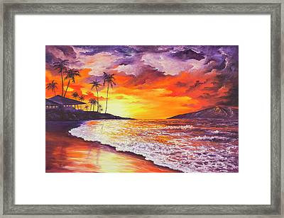 Framed Print featuring the painting Sunset At Kapalua Bay by Darice Machel McGuire